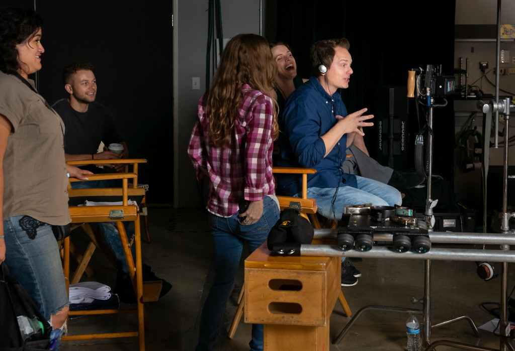 Director Patrick Ortman and team on set for comedy branded content series.